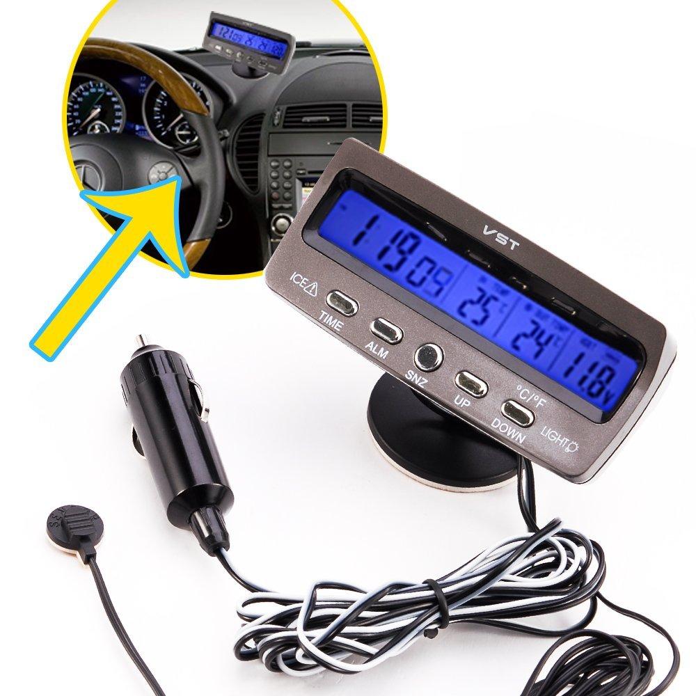 Car Alarm Temperature Thermometer Clo Ck Voltage Monitor Meter Vst